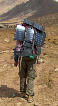 Portable solar panels in a backpack